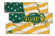 North Dakota State Bison Flag 3 Plank Sign