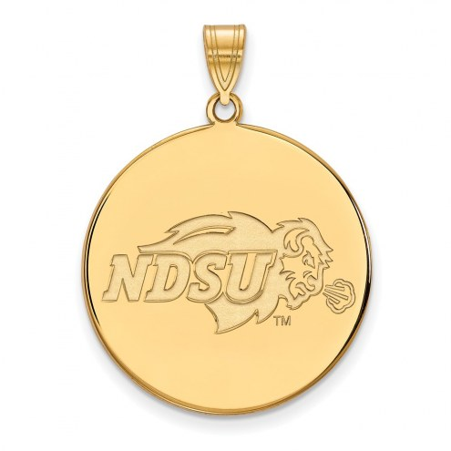North Dakota State Bison Sterling Silver Gold Plated Extra Large Disc Pendant