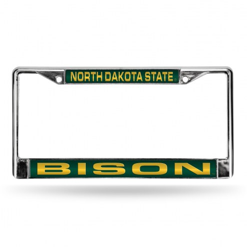 North Dakota State Bison Green Laser Chrome License Plate Frame