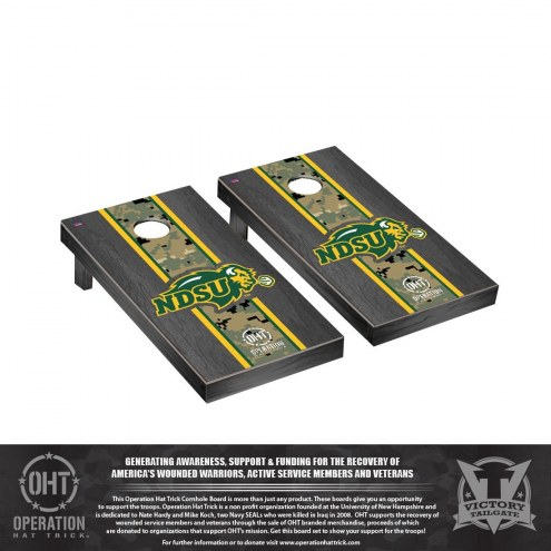 North Dakota State Bison Operation Hat Trick Onyx Stained Cornhole Game Set