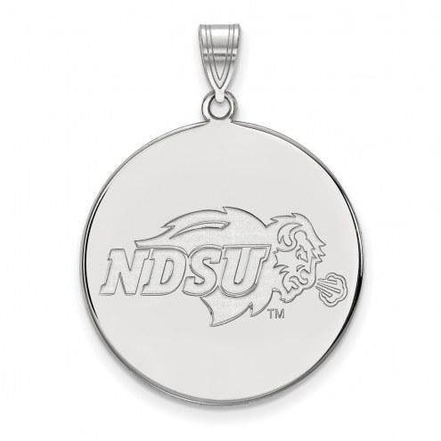 North Dakota State Bison Sterling Silver Extra Large Disc Pendant