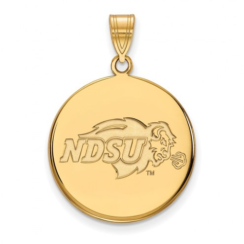 North Dakota State Bison Sterling Silver Gold Plated Large Disc Pendant