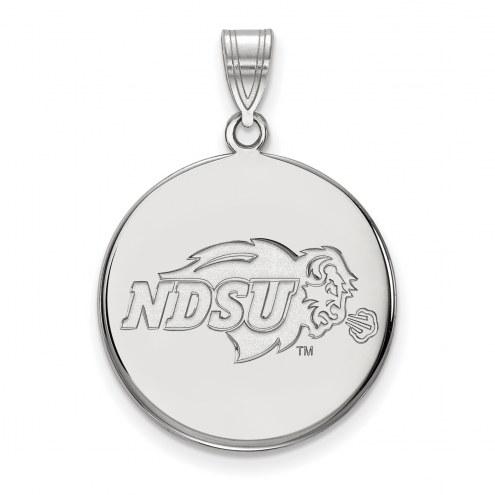 North Dakota State Bison Sterling Silver Large Disc Pendant