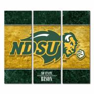 North Dakota State Bison Triptych Double Border Canvas Wall Art