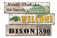North Dakota State Bison Welcome 3 Plank Sign
