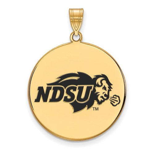 North Dakota State Bison Sterling Silver Gold Plated Extra Large Enameled Disc Pendant