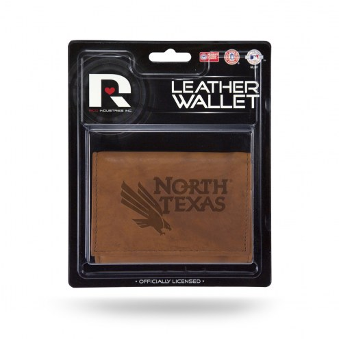 North Texas Mean Green Brown Leather Trifold Wallet