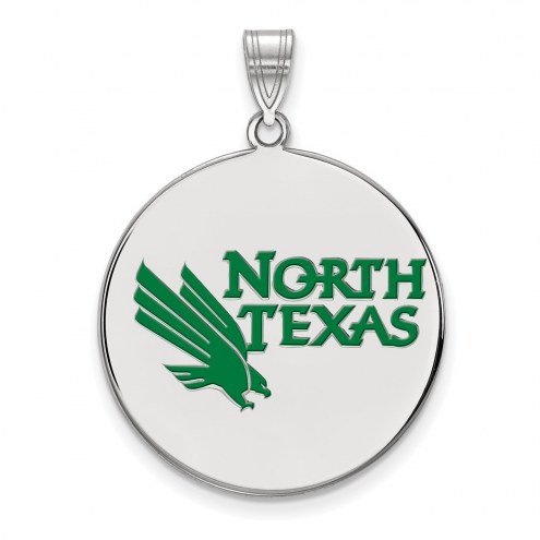 North Texas Mean Green Sterling Silver Extra Large Enameled Disc Pendant