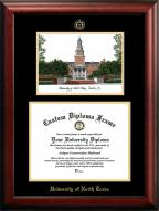 North Texas Mean Green Gold Embossed Diploma Frame with Campus Images Lithograph