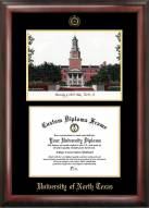 North Texas Mean Green Gold Embossed Diploma Frame with Lithograph