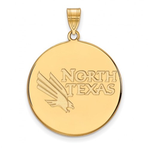 North Texas Mean Green Sterling Silver Gold Plated Extra Large Disc Pendant