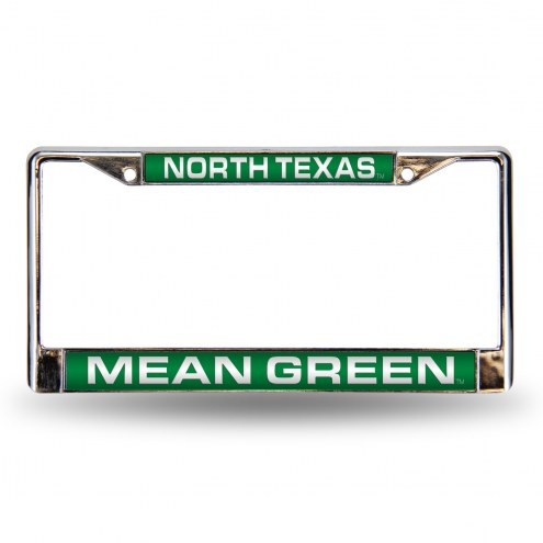 North Texas Mean Green Laser Chrome License Plate Frame