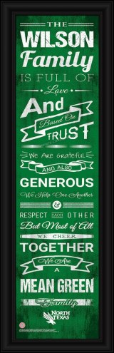 North Texas Mean Green Personalized Family Cheer Framed Art