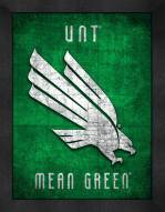 North Texas Mean Green Retro Logo Map Framed Print