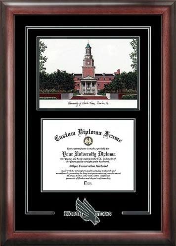 North Texas Mean Green Spirit Diploma Frame with Campus Image