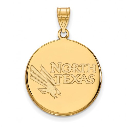 North Texas Mean Green Sterling Silver Gold Plated Large Disc Pendant