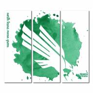 North Texas Mean Green Triptych Watercolor Canvas Wall Art