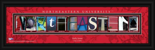 Northeastern Huskies Personalized Campus Letter Art