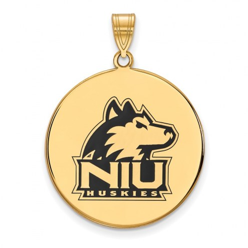 Northern Illinois Huskies Sterling Silver Gold Plated Extra Large Enameled Disc Pendant