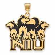 Northern Illinois Huskies Sterling Silver Gold Plated Extra Large Enameled Pendant
