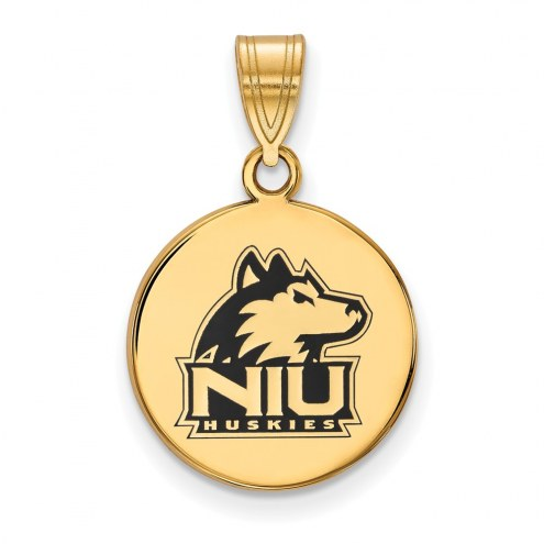 Northern Illinois Huskies Sterling Silver Gold Plated Medium Enameled Disc Pendant