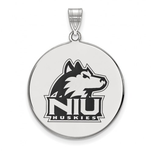 Northern Illinois Huskies Sterling Silver Extra Large Enameled Disc Pendant