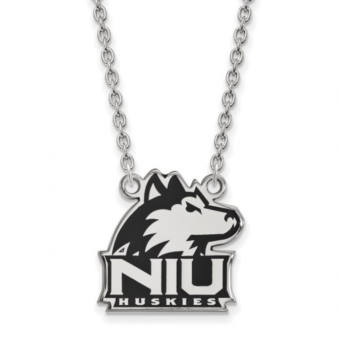 Northern Illinois Huskies Sterling Silver Large Enameled Pendant Necklace