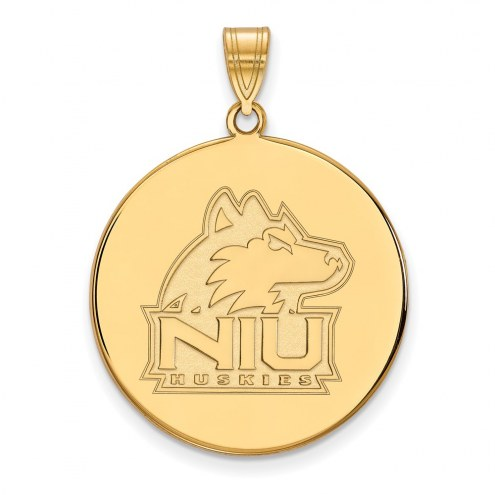 Northern Illinois Huskies Sterling Silver Gold Plated Extra Large Disc Pendant