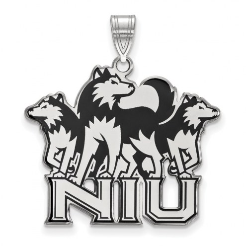 Northern Illinois Huskies Sterling Silver Extra Large Enameled Pendant