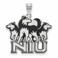 Northern Illinois Huskies Sterling Silver Extra Large Enameled Pendant