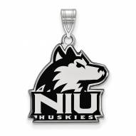 Northern Illinois Huskies Sterling Silver Large Enameled Pendant