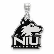Northern Illinois Huskies Sterling Silver Large Enameled Pendant