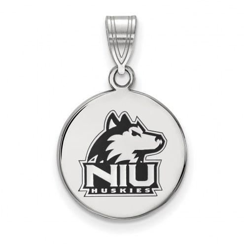 Northern Illinois Huskies Sterling Silver Medium Enameled Disc Pendant