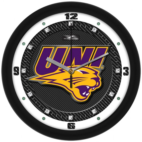 Northern Iowa Panthers Carbon Fiber Wall Clock