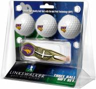 Northern Iowa Panthers Gold Crosshair Divot Tool & 3 Golf Ball Gift Pack