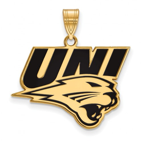 Northern Iowa Panthers Sterling Silver Gold Plated Large Enameled Pendant