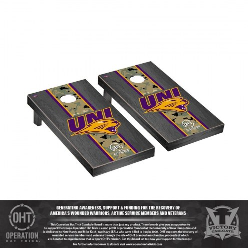 Northern Iowa Panthers Operation Hat Trick Onyx Stained Cornhole Game Set