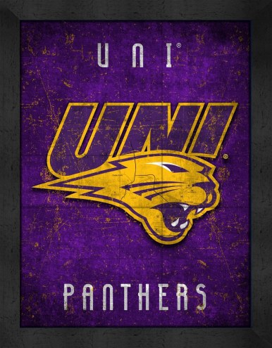 Northern Iowa Panthers Retro Logo Map Framed Print