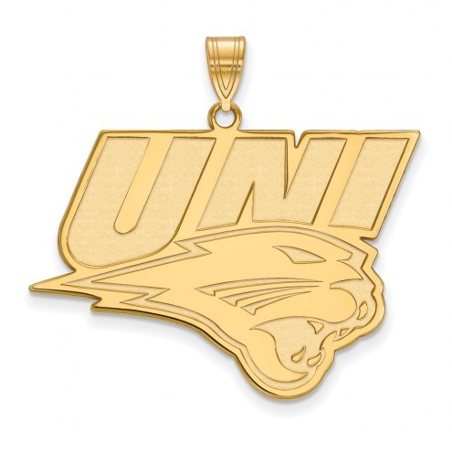 Northern Iowa Panthers Sterling Silver Gold Plated Extra Large Pendant