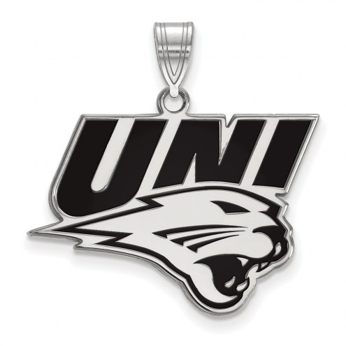Northern Iowa Panthers Sterling Silver Large Enameled Pendant