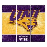 Northern Iowa Panthers Triptych Double Border Canvas Wall Art