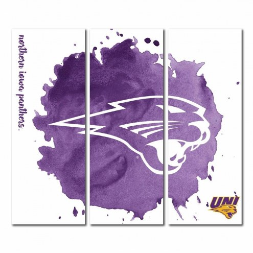 Northern Iowa Panthers Triptych Watercolor Canvas Wall Art