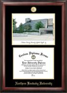 Northern Kentucky Norse Gold Embossed Diploma Frame with Campus Images Lithograph