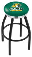 Northern Michigan Wildcats Black Swivel Barstool with Chrome Accent Ring