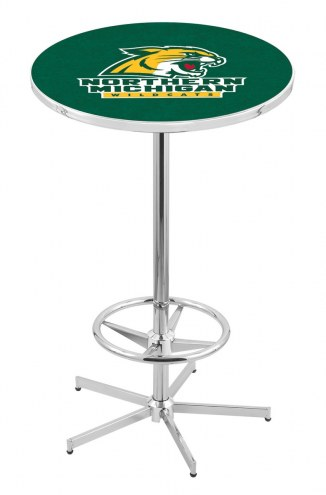 Northern Michigan Wildcats Chrome Bar Table with Foot Ring