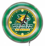 Northern Michigan Wildcats Neon Clock