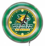 Northern Michigan Wildcats Neon Clock
