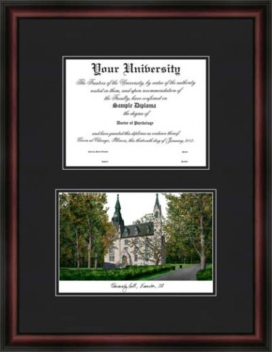 Northwestern University Diplomate Framed Lithograph with Diploma Opening