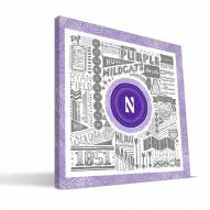 "Northwestern Wildcats 16"" x 16"" Pictograph Canvas Print"