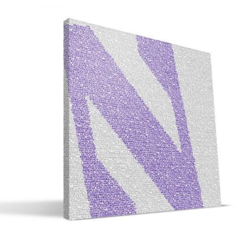 "Northwestern Wildcats 16"" x 16"" Typo Canvas Print"